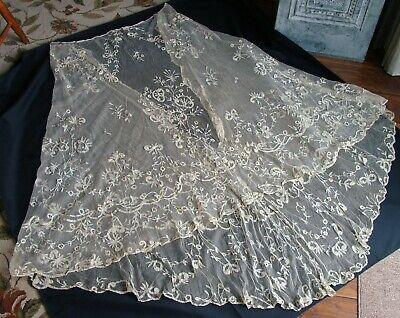 Antique Brussels Princess Lace Skirt Slip Veil