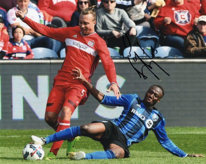 Michael Harrington signed 8x10 Photo w/COA Chicago Fire MLS Soccer #1