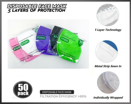 50 PCs Color KN95 Protective 5 Layers Face Mask BFE 95% Disposable Respirator