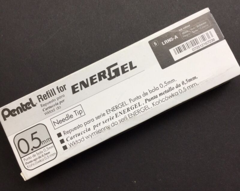 12 Pentel Energel Pen Refill Lot 0.5mm Black Genuine