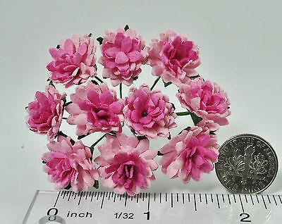 Mulberry Paper Flower Tiny Aster Light Pink Deep Pink center handmade card craft