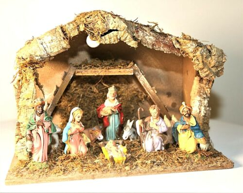 "Vintage Italian Nativity Figure Set Manger 10x13"" Creche Mary Joseph Baby Jesus"