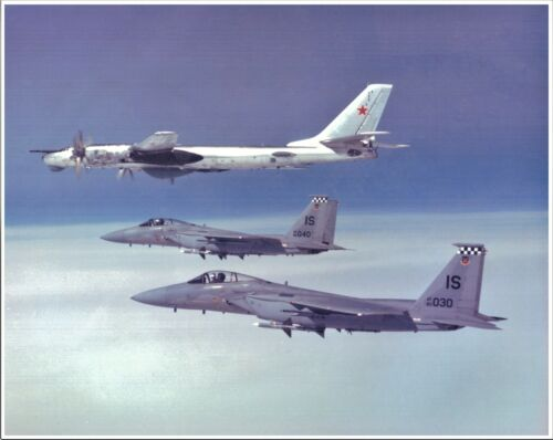 F-15s Escorting RUSSIAN BEAR BOMBER 8x10 Photo -AIR FORCES ICELAND Keflavik NAS