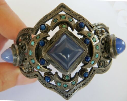 Antique Austro Hungarian moonstone chrysoprase turquoise 925 silver bracelet