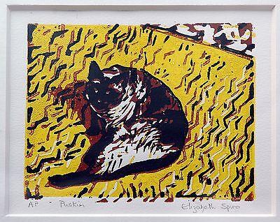 Elizabeth Spiro *1944 London: Katze gelber Stoff Farblinolschnitt Künstlerabzug