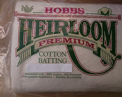 "Hobbs Heirloom Premium Cotton Batting, 80/20 quilting wadding, approx 60"" x 60"""