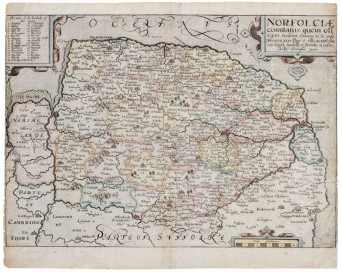 An Antique Map Of Norfolk England 1637 Norfolciae Comitatus Christophore Saxton