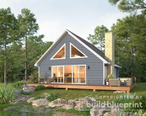 Cozy 1500SF Cabin w/ Loft Architectural House Plans 2 Bedroom - PDF Download