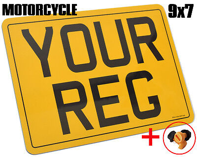 PREMIUM QUALITY LEGAL MOTORCYCLE BIKE NUMBER PLATE LEGAL 9x7 FIXINGS INCLUDED