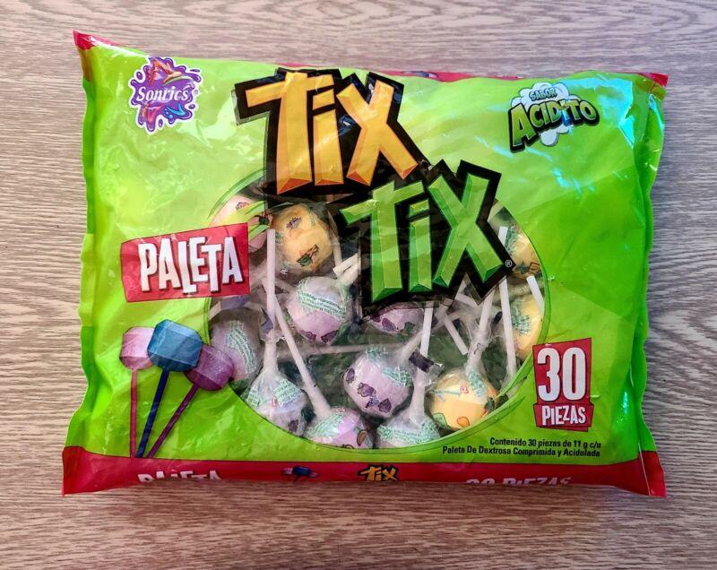 Tix Tix Paleta Bag 30 Lollipops SONRICS MEXICAN CANDY LOLLIPOP