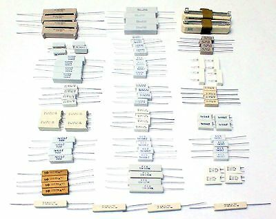 74pc 17 Value Ceramic Body Wirewound Power Resistor Assortment Kit