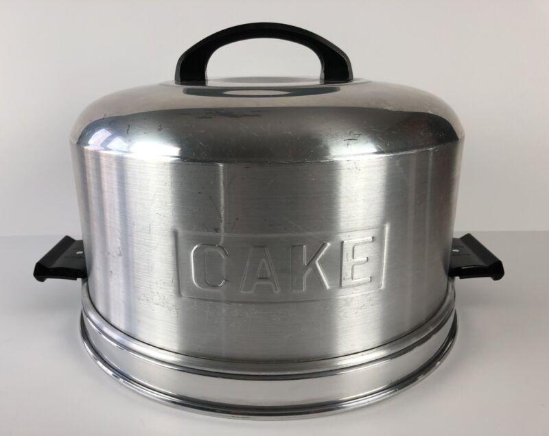 KROMEX Aluminum Cake Dome Carrier w/ Locking Bakelite Handles 1950s Vintage