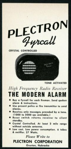 1957 Plectron Fyrcall fire alarm radio receiver photo vintage trade print ad