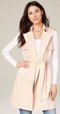 NWT Bebe Faux Suede Trench Coat Pink Blush Size Small Chic Fashion Duster Belt