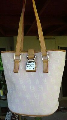 Dooney & Bourke Signature Lock North/South Bucket Bag Natural Canvas /Leather