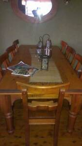 solid wood country style table and 8 x chairs Rooty Hill Blacktown Area Preview