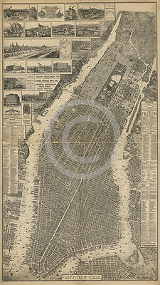 1879 LARGE OLD FASHIONED WALL MAP MANHATTAN NEW YORK