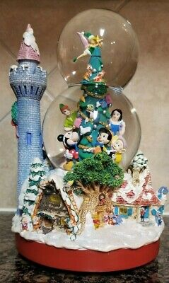 WALT DISNEY CHRISTMAS EXCELLENT CONDITION DOUBLE MUSICAL SNOWGLOBE W/ MICKEY!!