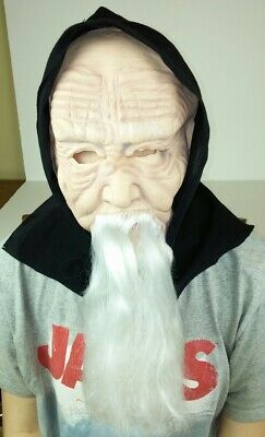 Old Man with Beard in Black Hood Mask Halloween Costume Scary Spooky Dress Up