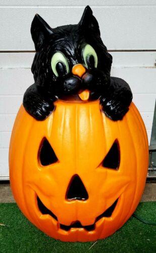 "VTG RARE Halloween TPI Witch Pumpkin & BLACK CAT Plastic Lighted Blow Mold 26"""