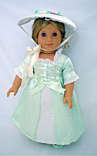 """Doll Clothes 18"""" Colonial Dress Party Summer Bonnet Fits American Girl Dolls"""