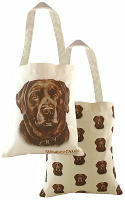 EVANS LICHFIELD MADE IN UK COTTON TOTE CLOTH SHOPPING BAG CHOCOLATE LABRADOR DOG