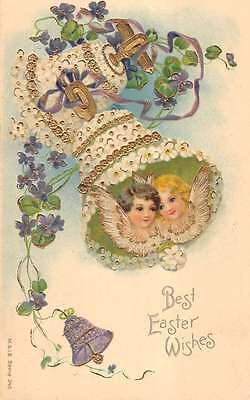Angels in Flower Easter Bells Religious Antique Postcard L1066