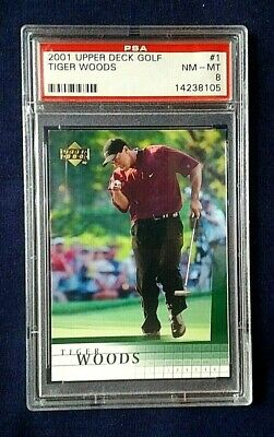 2001 Upper Deck Golf Tiger Woods Rookie Card #1 ~ PSA Graded NM~MINT 8!
