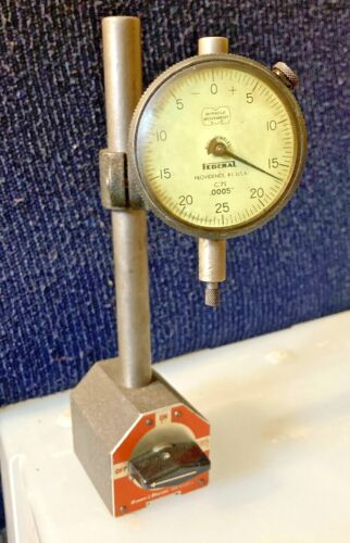 BROWN & SHARPE 599-7744 MAGNETIC BASE STAND B&S W/ Federal Tool Dial Indicator