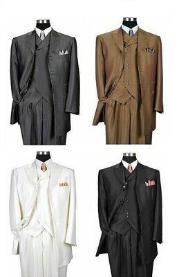 Men's 3 Piece Luxurious Suits Herring Bone Striped Suit Gray Black Cream 38R~60R