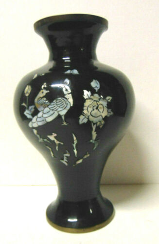 "Oriental Black Enamel Brass Vase Urn With Inlaid Mother of Pearl Peacocks 9.5"""