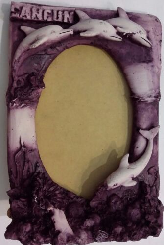 Dolphin Molded Picture Photo Frame Purple/Wine Stand Up 5 x 7 Cancun Souvenir