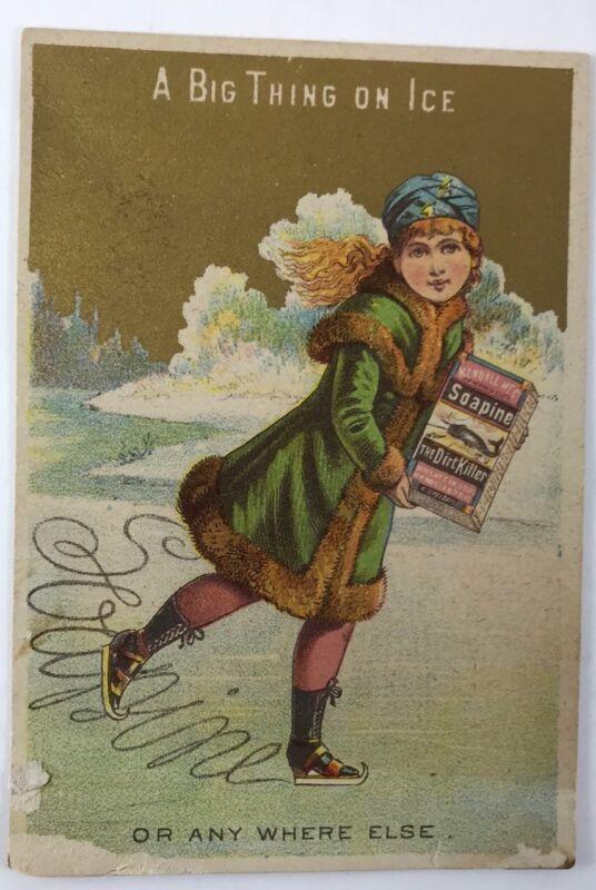 Soapine Girl Ice Skating Skater Victorian Trade Card Providence RI