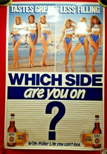 """Vintage Sexy Girl MILLER LITE Beer Poster 36"""" x 24"""" """"Which Side Are You On?"""""""