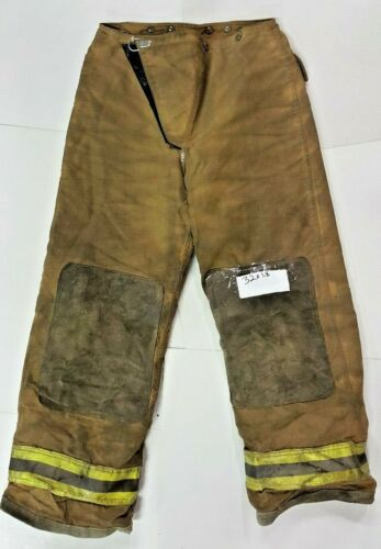 32x28 Brown Globe Firefighter Turnout Bunker Pants w/ Yellow Refl Tape P0129