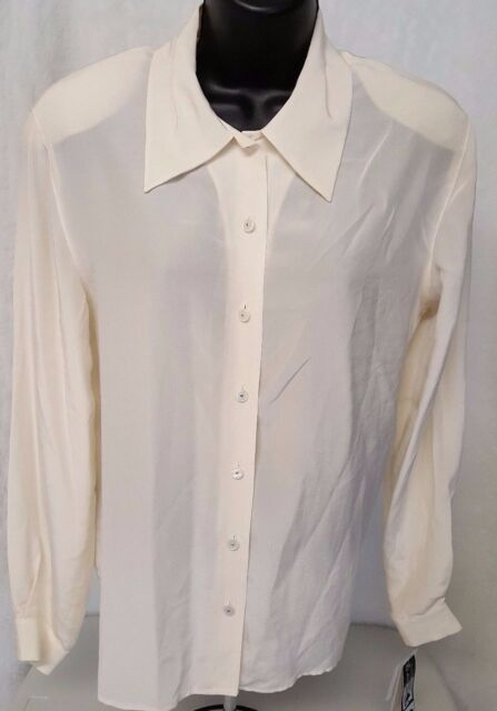 Rena Rowan Woman's 100 Silk Cream Color Button Down Shirt Size 6 ...