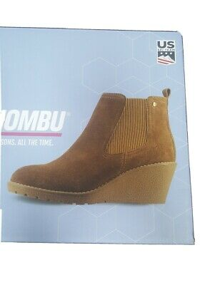 Brown Khombu Memory Foam Suede Leather Wedge Ankle Boots - Chestnut Size UK 5/6