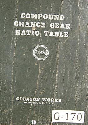 Gleason Comound Change Gear Ration Table 150000 To 3.1333333 Manual 1937