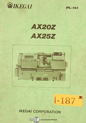 Ikegai Ax20z And Ax25z Machine Center Parts List Manual 1984
