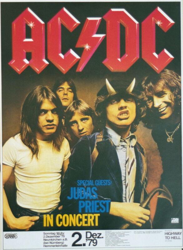 AC/DC JUDAS PRIEST CONCERT TOUR POSTER 1979 HIGHWAY TO HELL DECEMBER 2 BON SCOTT