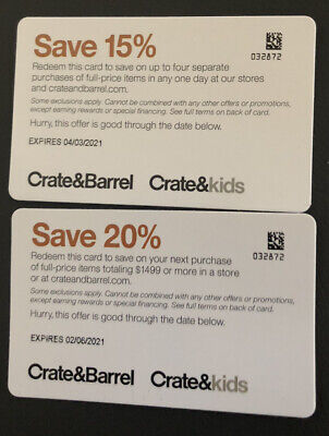 crate and barrel coupon 15% and 20%