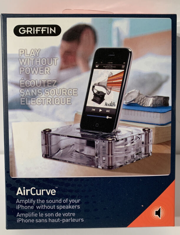 Griffin AirCurve Acoustic Amplifier For Iphone, Clear (New Old Stock)