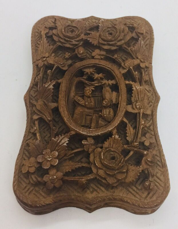 Antique Chinese 19th Century Carved Wood Scholars Floral Card Case
