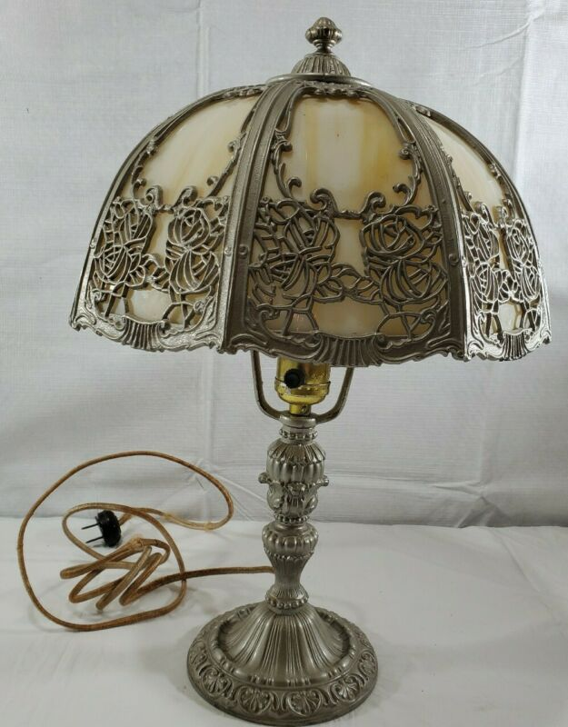 Antique Salem Brothers Cast Iron 8 Panel Glass Slag Table Lamp