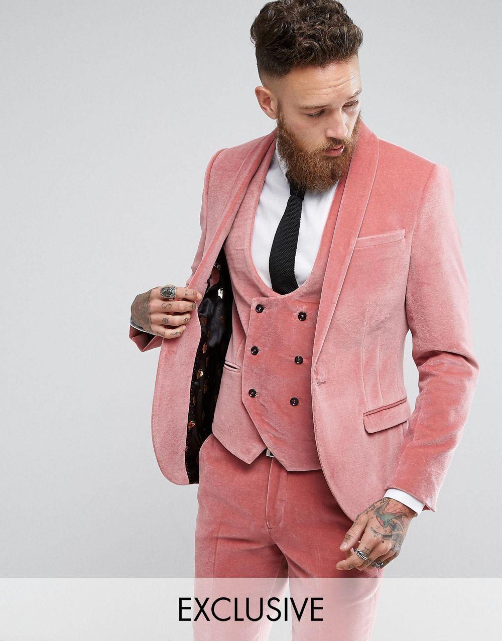 3 Pics Fashion PINK Velvet Men\'s Tuxedos Suits Custom 38 40 42 44 46 ...