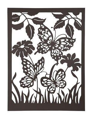 Lovely rustic steel garden butterflies & flowers wall art plaque screen 1m tall