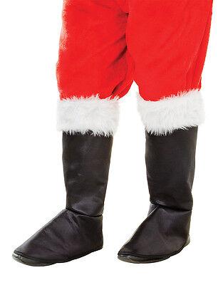 Black Santa Costume (Deluxe Santa Claus Black Boot Tops  White Fur Christmas Santa Costume)