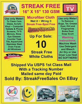 Streak Free MicroFiber Cleaning Cloths 10 Pack!  Made in Germany! 1st Class Ship