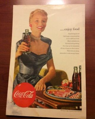 Coca Cola 1952 Print Advertised Enjoy Food Women In Blue Free Shipping