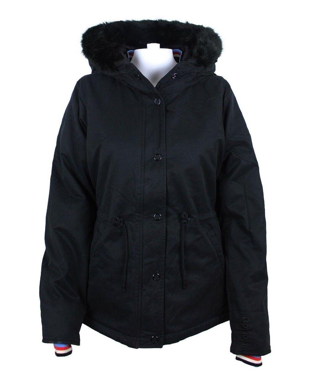 BENCH Damenjacke Wasserabweisende Jacke mit Kapuze und Tunnelzug Gr. M Schwarz